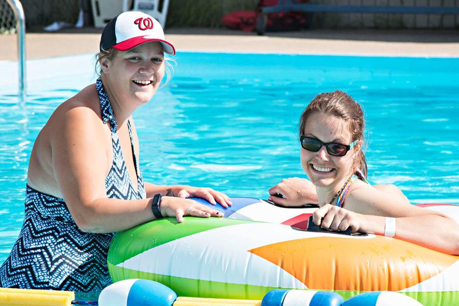 Campers at Pool